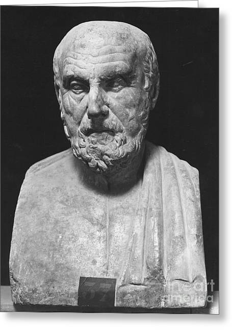 Statue Portrait Greeting Cards - HIPPOCRATES (c460-c377 B.C.) Greeting Card by Granger