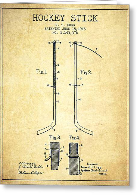 Hockey Greeting Cards - Hockey Stick patent Drawing from 1915 Greeting Card by Aged Pixel