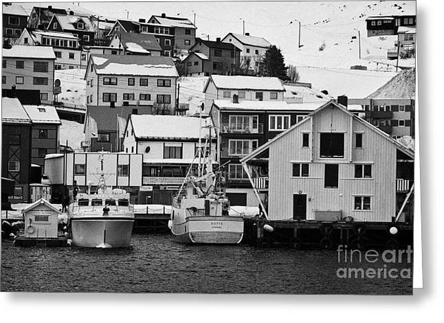 Honningsvag Greeting Cards - Honningsvag harbour and traditional wooden houses finnmark norway europe Greeting Card by Joe Fox
