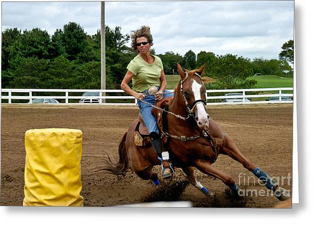 Quarter Horse Greeting Cards - Horse and Rider in Barrel Race Greeting Card by Amy Cicconi