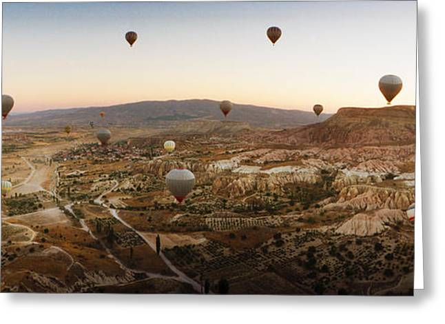 Mid Air Greeting Cards - Hot Air Balloons Over Landscape Greeting Card by Panoramic Images