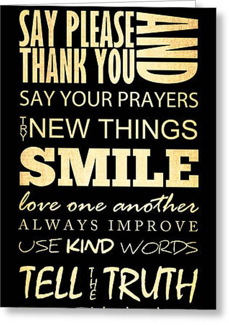 Help Others Greeting Cards - Inspirational Art - House Rules. Greeting Card by Joy House Studio