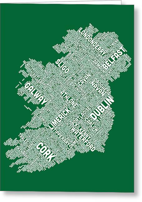Cartography Digital Art Greeting Cards - Ireland Eire City Text map Greeting Card by Michael Tompsett