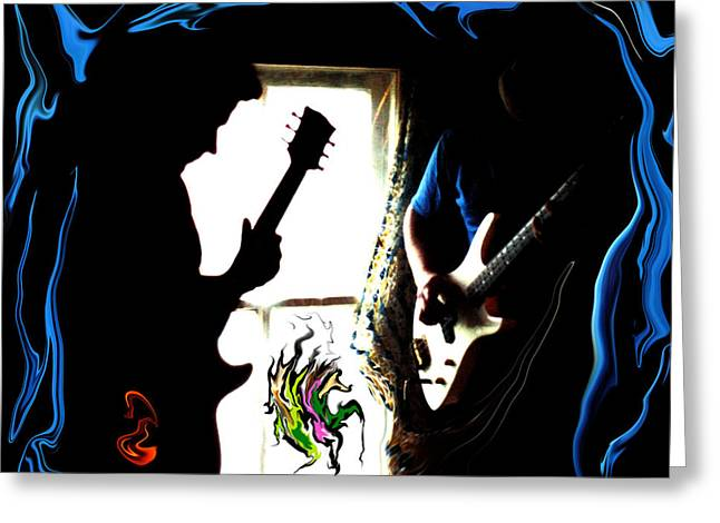 Rock And Roll Greeting Cards - Jam Session Greeting Card by J D Owen