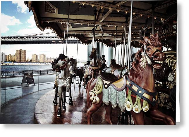 Brooklyn Bridge Park Greeting Cards - Janes Carousel Greeting Card by Natasha Marco