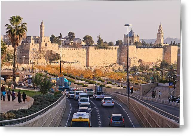 Yafo Greeting Cards - Jerusalem Traffic Greeting Card by Jonathan Gewirtz