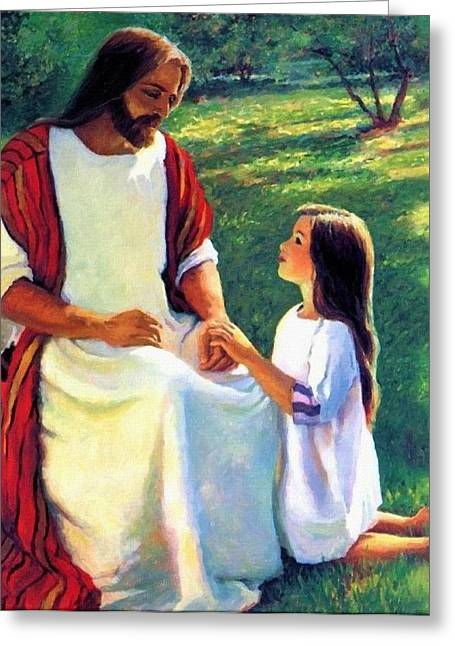 Religion Greeting Cards - Jesus And Child Greeting Card by Victor Gladkiy