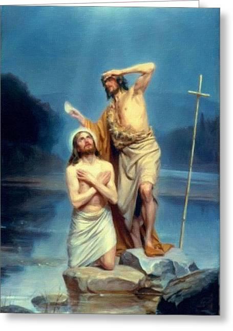 Christ Child Greeting Cards - Jesus Christ Greeting Card by Victor Gladkiy