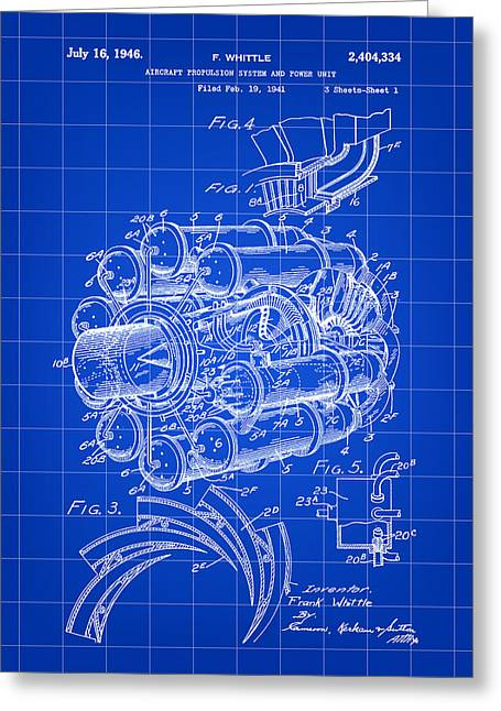 Turbojet Greeting Cards - Jet Engine Patent 1941 - Blue Greeting Card by Stephen Younts