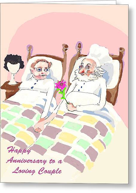 Religious Mixed Media Greeting Cards - A Loving Couple Greeting Card by Shirl Solomon