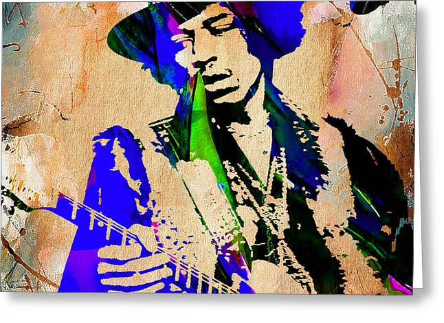 Psychedilic Greeting Cards - Jimi Hendrix Painting Greeting Card by Marvin Blaine