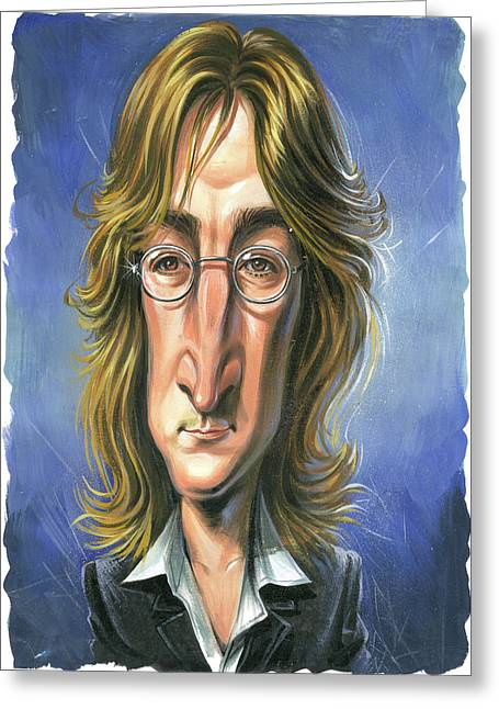 Awesome Greeting Cards - John Lennon Greeting Card by Art