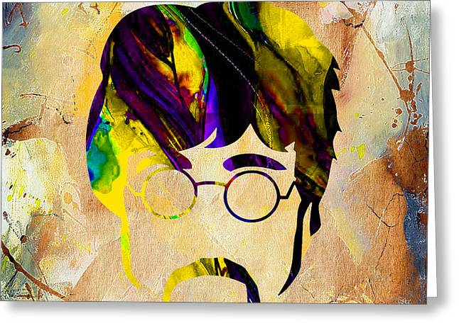 Rock And Roll Mixed Media Greeting Cards - John Lennon Collection Greeting Card by Marvin Blaine