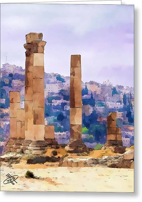 Petra - Jordan Digital Art Greeting Cards - Jordan/Amman/citadel Greeting Card by Fayez Alshrouf