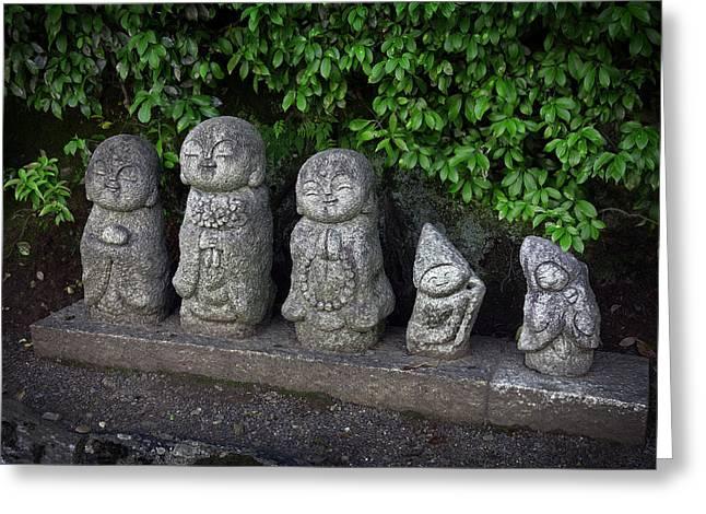 Prayer Beads Greeting Cards - 5 Jovial Buddhist Deities - Kyoto Greeting Card by Daniel Hagerman