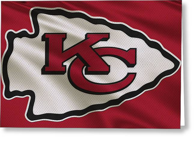 Sports Uniform Greeting Cards - Kansas City Chiefs Uniform Greeting Card by Joe Hamilton