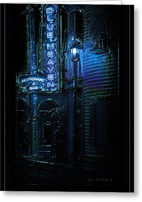 Night Lamp Greeting Cards - Key West Florida - Blue Heaven Rendezvous Greeting Card by John Stephens