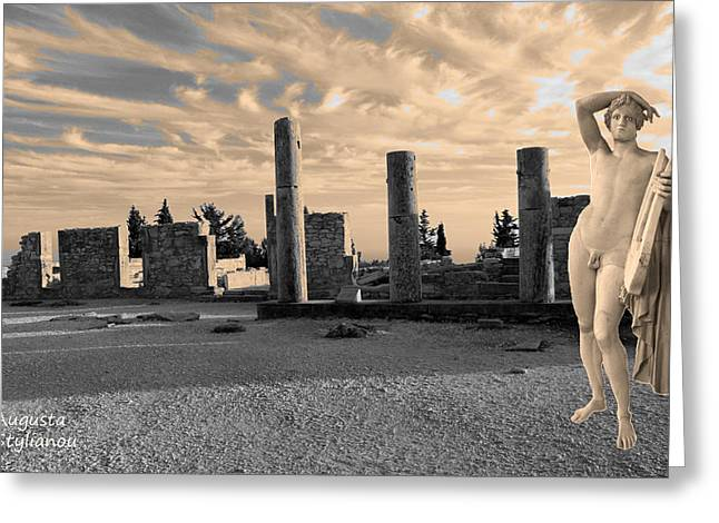 Amazing Sunset Digital Greeting Cards - Kourion-Temple of Apollo Greeting Card by Augusta Stylianou
