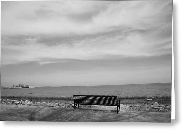 Empty Chairs Greeting Cards - Lake and Park Bench Greeting Card by Frank Romeo