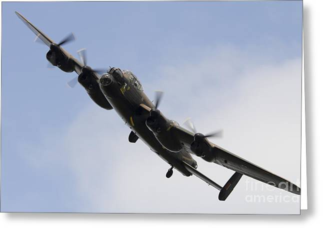 617 Squadron Greeting Cards - Lancaster Bomber Greeting Card by J Biggadike