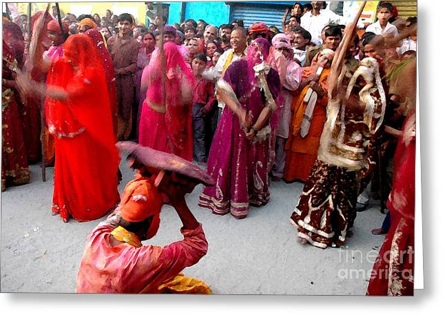 Incarnation Digital Art Greeting Cards - Lathmar Holi Of Barsana Greeting Card by Anil Sharma