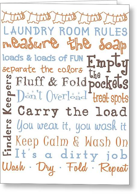 Subway Art Greeting Cards - Laundry Room Rules Poster Greeting Card by Jaime Friedman