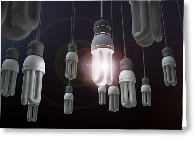Leadership Hanging Lightbulb Greeting Card by Allan Swart