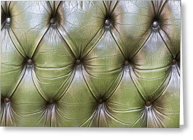 Surface Tension Greeting Cards - Leather upholstery Greeting Card by Tom Gowanlock