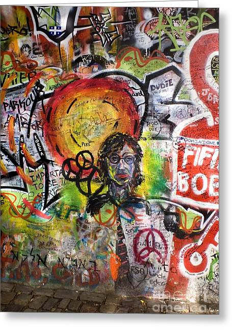 Pop Singer Greeting Cards - Lennon Wall, Prague Greeting Card by Mark Williamson