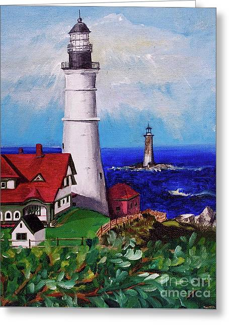 Maine Lighthouses Greeting Cards - Lighthouse Hill Greeting Card by Linda Simon
