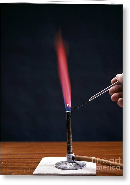 Combusting Greeting Cards - Lithium Flame Test Greeting Card by Andrew Lambert Photography