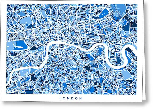 Britain Greeting Cards - London England Street Map Greeting Card by Michael Tompsett