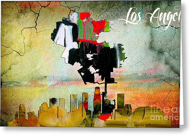 Los Angeles Map And Skyline Greeting Card by Marvin Blaine