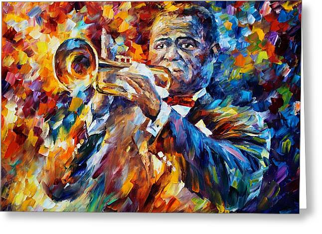 Enjoying Life Paintings Greeting Cards - Louis Armstrong Greeting Card by Leonid Afremov