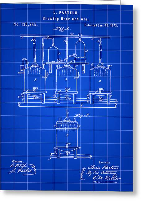 Result Greeting Cards - Louis Pasteur Beer Brewing Patent 1873 - Blue Greeting Card by Stephen Younts