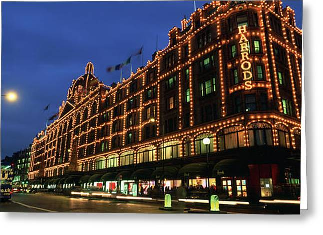 Knightsbridge Greeting Cards - Low Angle View Of Buildings Lit Greeting Card by Panoramic Images