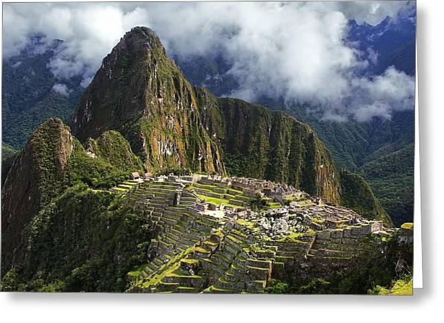Machu Picchu Greeting Card by Dan Breckwoldt