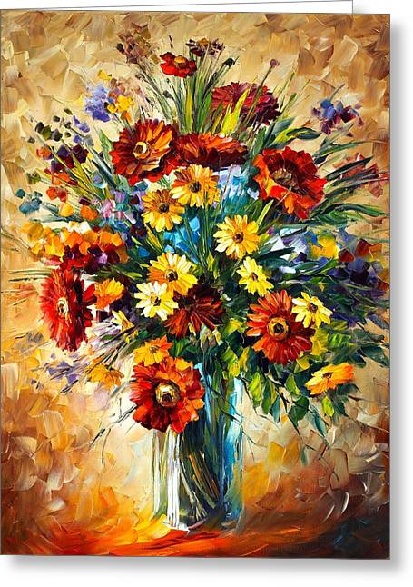 Enjoying Greeting Cards - Magic Flowers Greeting Card by Leonid Afremov