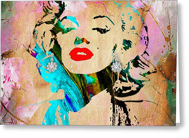 Marilyn Monroe Diamond Earring Collection Greeting Card by Marvin Blaine
