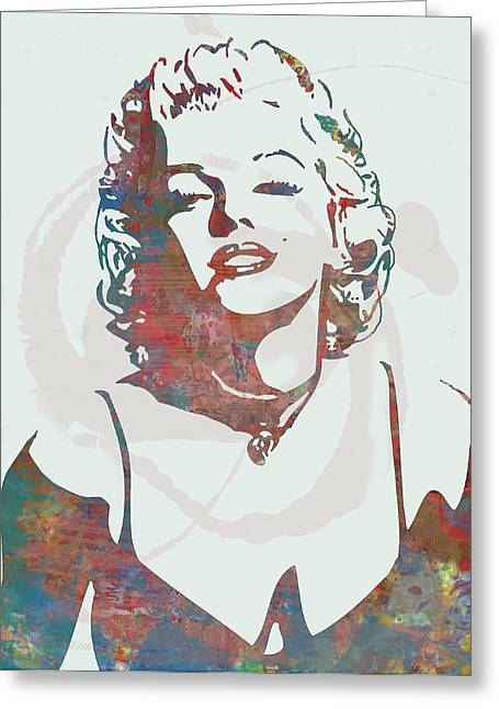 Guitar Pictures Greeting Cards - Marilyn Monroe stylised pop art drawing sketch poster Greeting Card by Kim Wang
