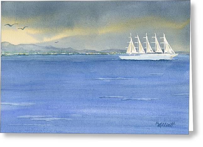 Boat Cruise Greeting Cards - 5 Masted Schooner Greeting Card by Marsha Elliott