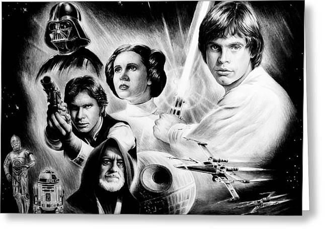 Graphite Poster Greeting Cards - May the force be with you Greeting Card by Andrew Read