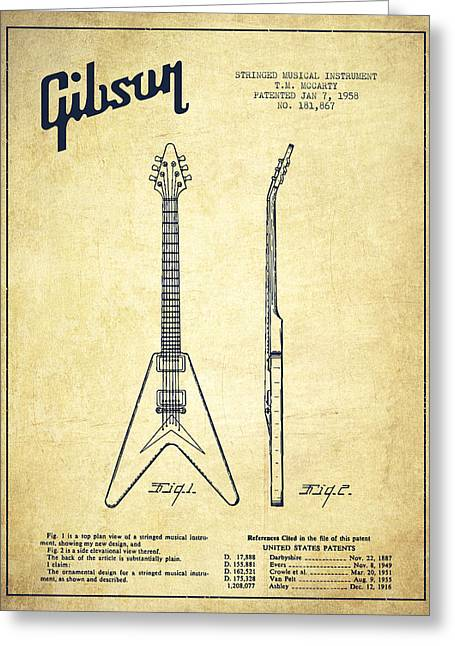 Bass Digital Art Greeting Cards - Mccarty Gibson Electric guitar patent Drawing from 1958 - Vintage Greeting Card by Aged Pixel