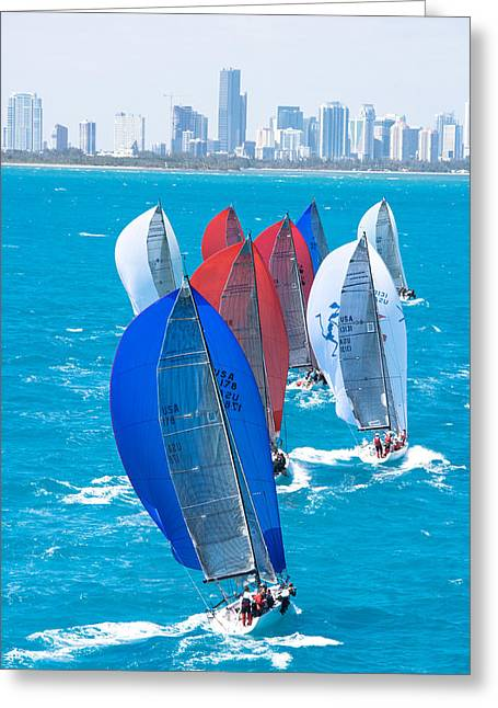 Miami Skyline Greeting Cards - Miami Skyline Greeting Card by Steven Lapkin