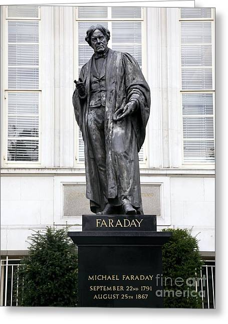 Statue Portrait Greeting Cards - Michael Faraday, British Physicist Greeting Card by Sheila Terry