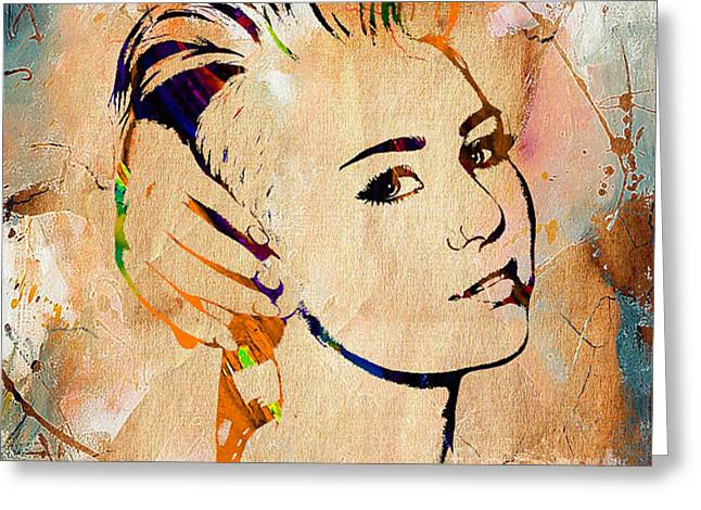 Miley Cyrus Collection Greeting Card by Marvin Blaine