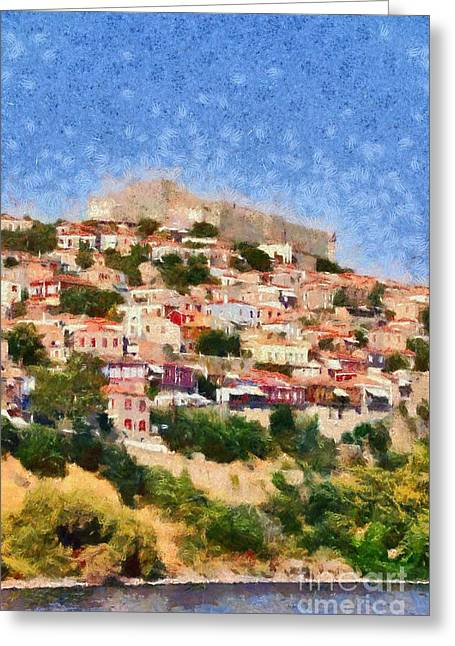 Lesvos Greeting Cards - Molyvos town in Lesvos island Greeting Card by George Atsametakis