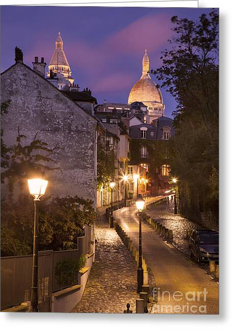 Night Lamp Greeting Cards - Montmartre Twilight Greeting Card by Brian Jannsen