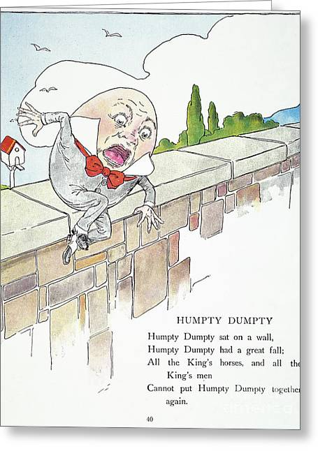 Humpty Dumpty Greeting Cards - Mother Goose, 1916 Greeting Card by Granger