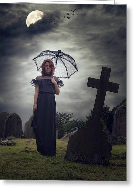Gothic Cross Greeting Cards - Mourning Greeting Card by Joana Kruse
